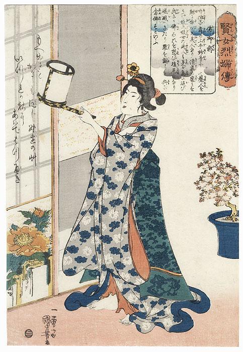 Hotoke-gozen Reading a Farewell Poem by Kuniyoshi (1797 - 1861)