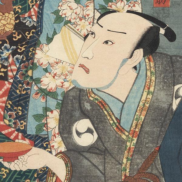 Bando Shuka I as the Courtesan Kashiwagi and Ichikawa Danjuro VIII as Oboshi Yuranosuke by Toyokuni III/Kunisada (1786 - 1864)