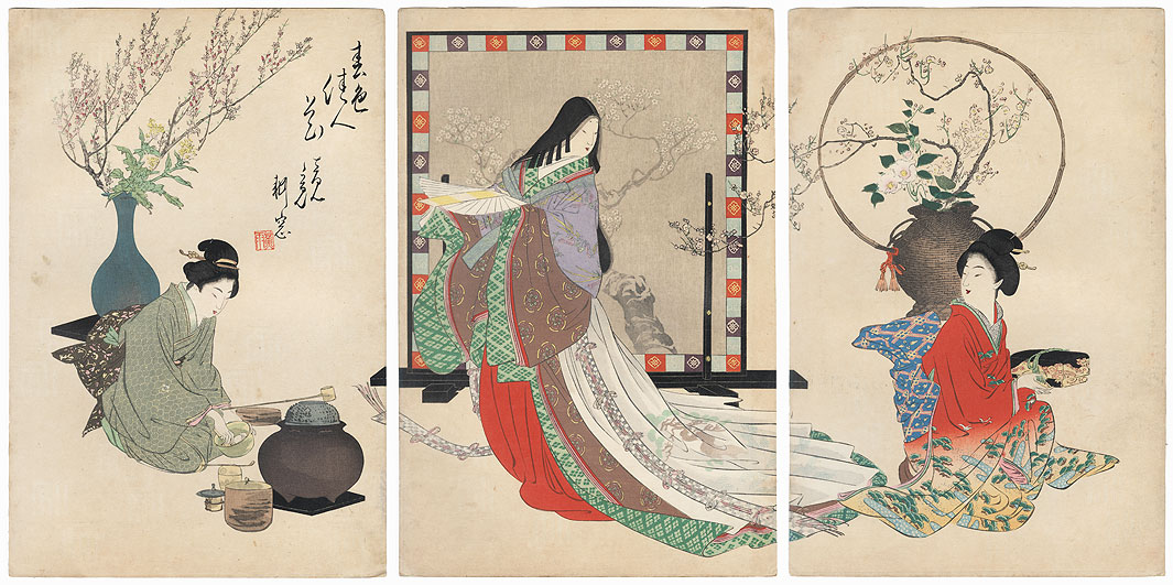 Heian Era Beauty and Tea Ceremony by Meiji era artist (not read)