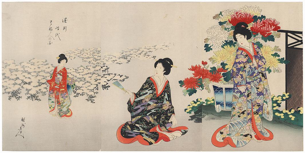 Chrysanthemum Garden, 1895 by Chikanobu (1838 - 1912)