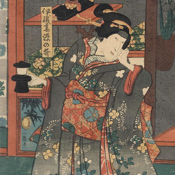 Eavesdropping on a Samurai, 1854 by Toyokuni III/Kunisada (1786 - 1864)
