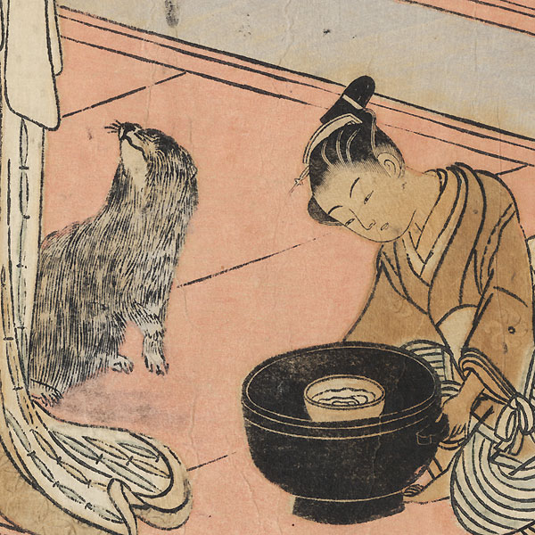 Retuning Sails at Shinagawa, circa 1769 by Harunobu (1724 - 1770)