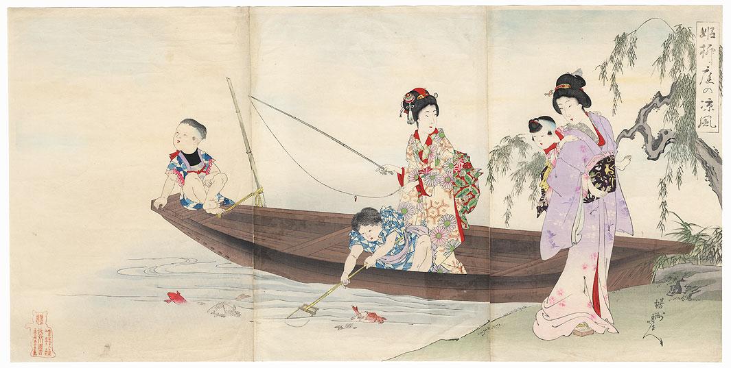 Fishing, 1895 by Chikanobu (1838 - 1912)