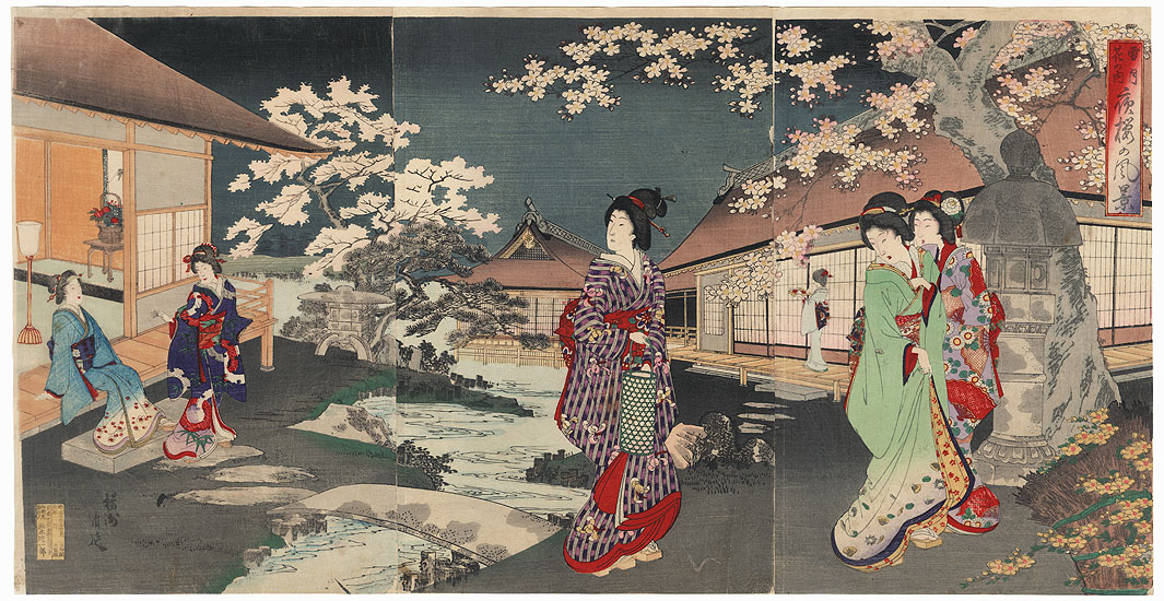 Evening in a Garden, 1891 by Chikanobu (1838 - 1912)