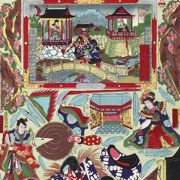 Kokusen'ya Gassen Kabuki Paper Model Set by Meiji era artist (unsigned)