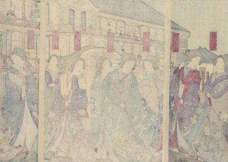 Beauties in the Pleasure District, 1883 by Chikanobu (1838 - 1912)