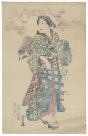 Beauty beneath a Blossoming Cherry Tree by Yoshifusa (active circa 1837 - 1860)