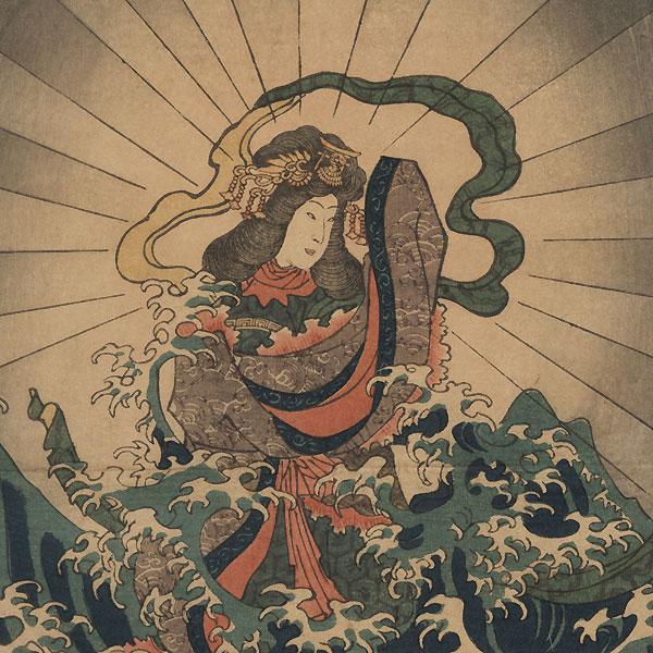 The Founding of Itsukushima Shrine in Miyojima by Yoshitora (active circa 1840 - 1880)