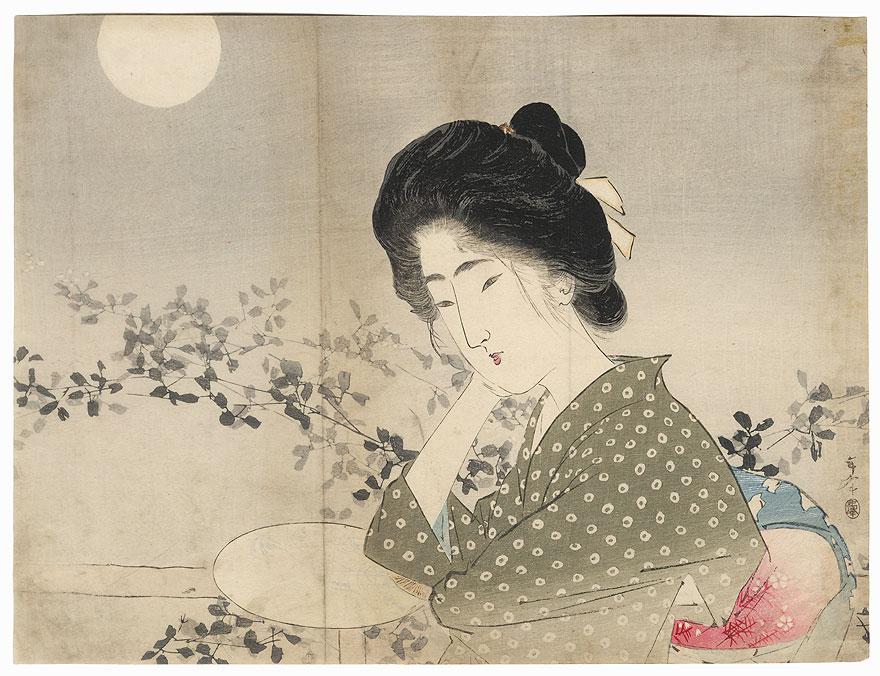 Bush Clover Moon Kuchi-e Print by Toshimine (1863 - 1934)