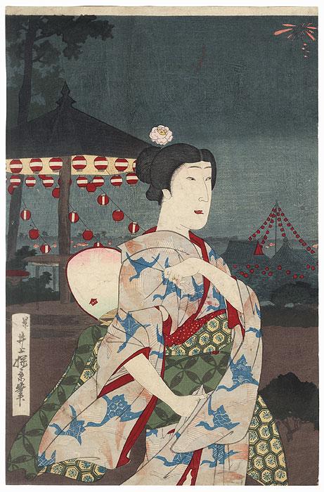 Beauty and Fireworks Display by Meiji era artist (not read)