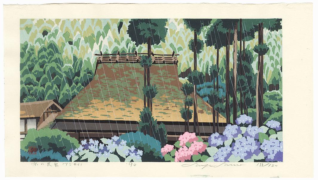 Villages Houses and Hydrangeas, Kyoto, 1990 by Seiji Sano (born 1959)