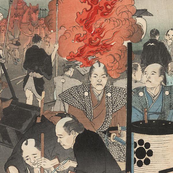 Daimyo Procession Arriving at Chiyoda Palace  by Chikanobu (1838 - 1912)