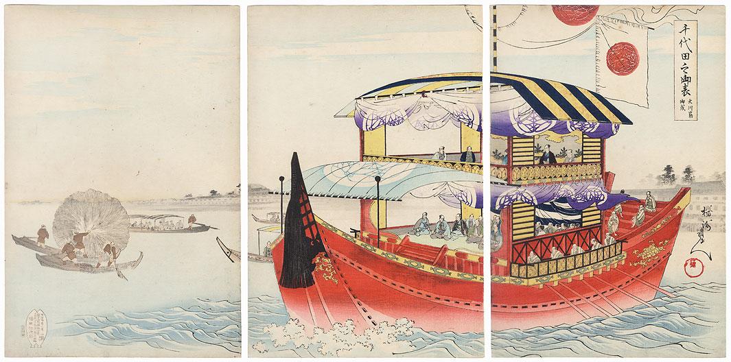 Tokugawa Shogun's Ship at Okawasuji, 1897 by Chikanobu (1838 - 1912)