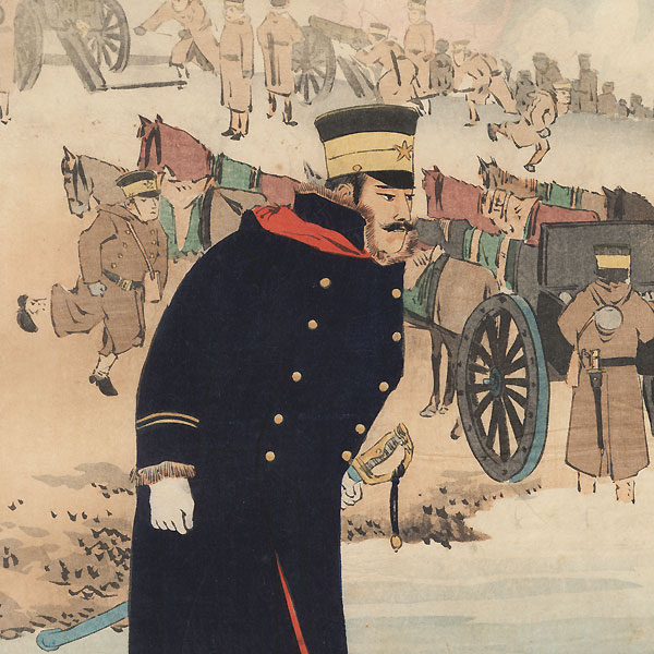 Illustration of the Attack at Niuzhuang, 1894 - 1895 by Kiyochika (1847 - 1915)