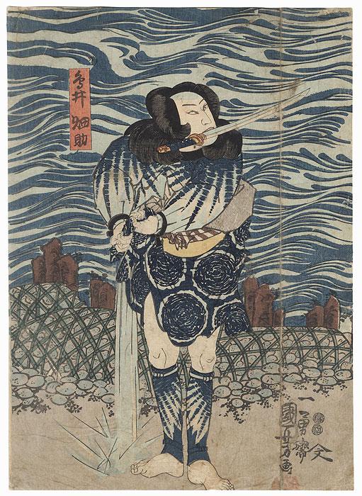 Nakamura Utaemon IV as Torii Hatasuke in O megumi niuruo Iwafuji, 1849 by Kuniyoshi (1797 - 1861)
