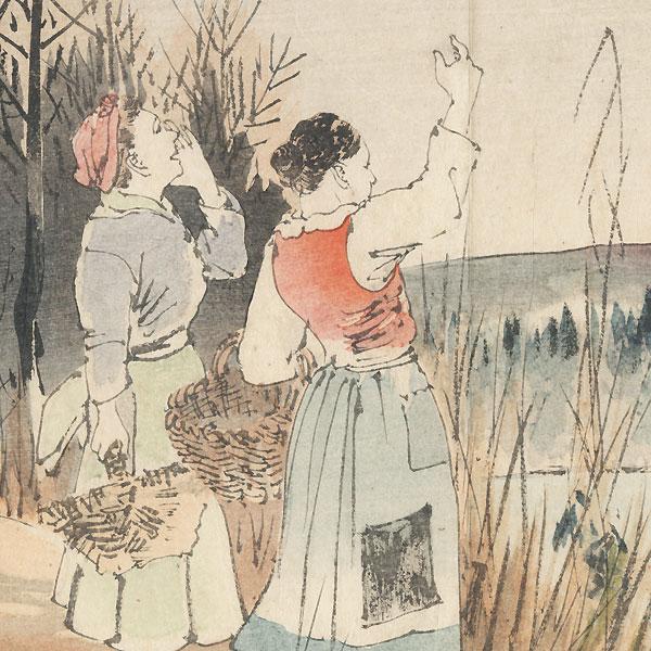 Dutch Women Kuchi-e Print by Meiji era artist (unsigned)