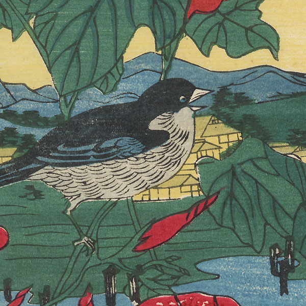 Birds and Morning Glories by Meiji era artist (unsigned)