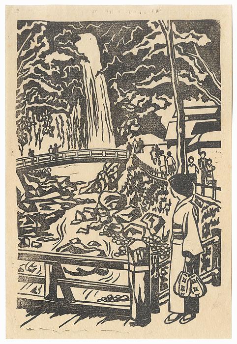 Visiting a Waterfall by Shin-hanga & Modern artist (unsigned)