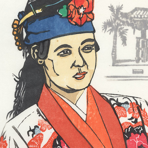 Woman in a Floral Robe by Shin-hanga & Modern artist (unsigned)