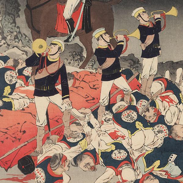 Hurrah for Japan! The Victory Song of Pyongyang, 1894 by Kiyochika (1847 - 1915)