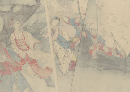 Chinese General, Ye Zhi Zhao, with his Korean Concubine Retreating from the Japanese Army, 1894 by Toshihide (1863 - 1925)