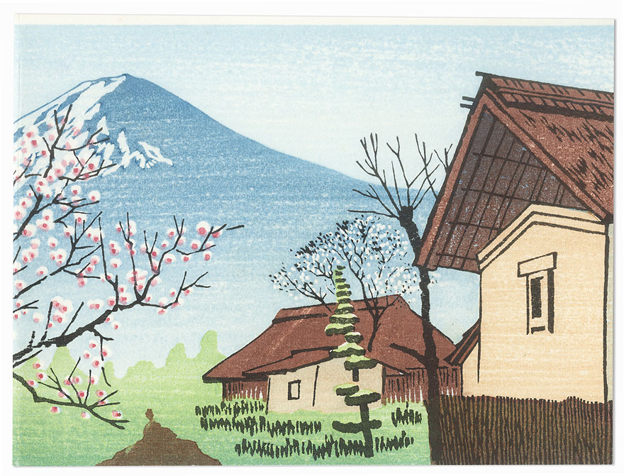 Farmhouses and Mt. Fuji in Springtime by Shin-hanga & Modern artist (unsigned)