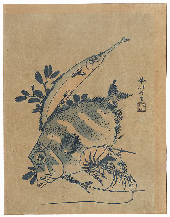 Two Fish and a Shrimp by Hokusai (1760 - 1849)