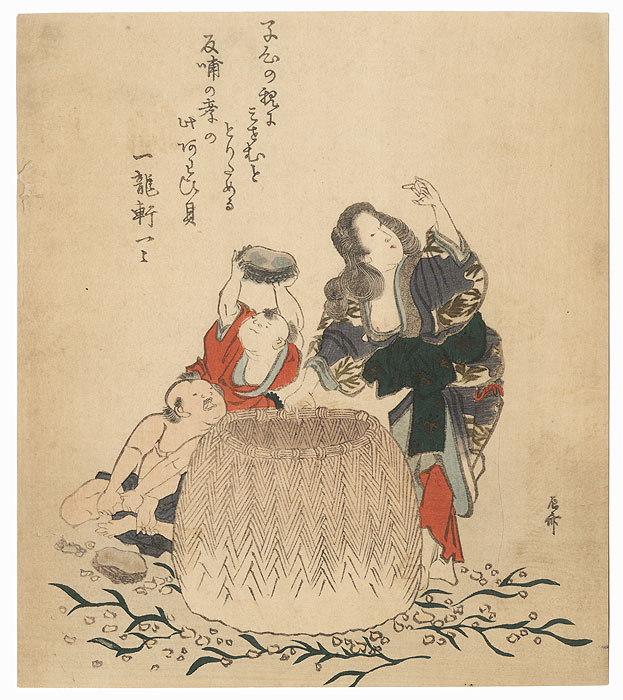 Women and Children Gathering Abalone into a Basket by Shinsai (circa 1764 - 1823)