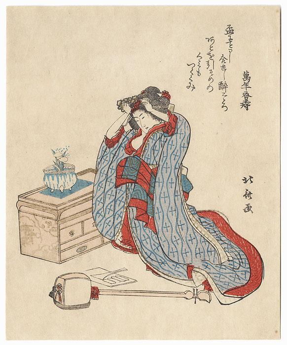 Shamisen Player Adjusting Her Hair by Hokusai (1760 - 1849)