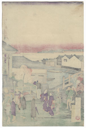 City Street Scene by Ikkei (active circa 1870s)