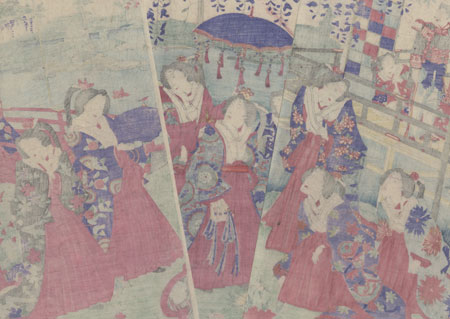 Emperor and Empress in a Garden, 1880 by Chikashige (active circa 1869 - 1882)