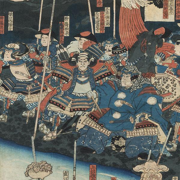 The Battle of Kawanakajima, 1847 - 1852 by Kunitsuna (1805 - 1868)