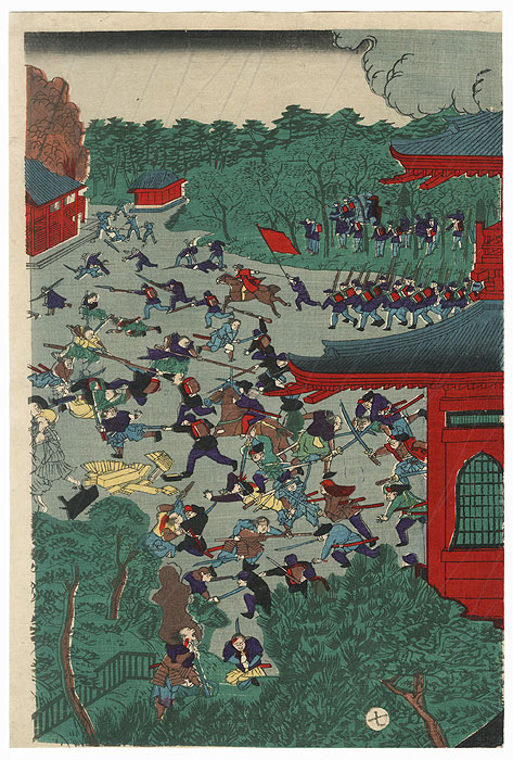The Battle of Ueno, Toh Dai War of 1868 by Yoshitora (active circa 1840 - 1880)