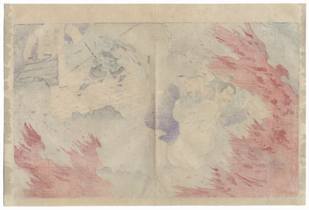 Oda Nobunaga Leaping through Fire to Escape Yasuda Sakubei by Chikanobu (1838 - 1912)