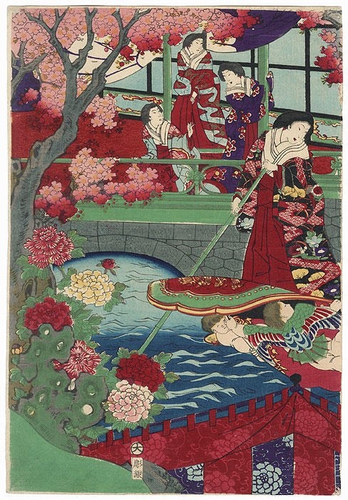 Cherry Trees in Full Bloom on the Banks of the Sumida River, 1878 by Chikanobu (1838 - 1912)
