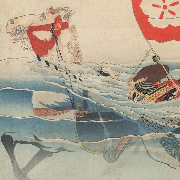 Akechi Mitsuharu Crossing Lake Biwa by Kiyochika (1847 - 1915)