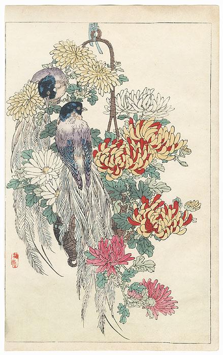 Exotic Birds and Chrysanthemums by Kono Bairei (1844 - 1895)