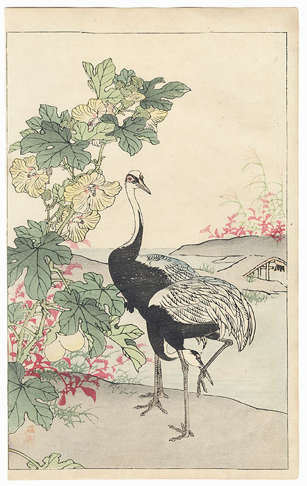 Cotton Rose and Cranes by Kono Bairei (1844 - 1895)