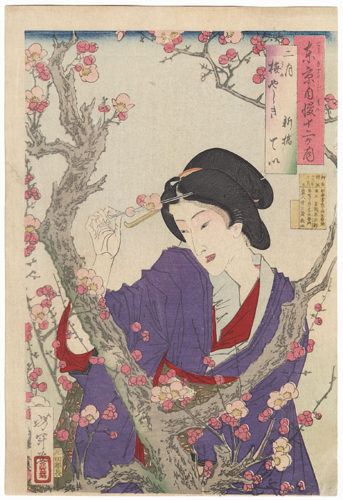 February: Tei of Shimbashi by a Plum Tree at Umeyashiki, First Edition by Yoshitoshi (1839 - 1892)