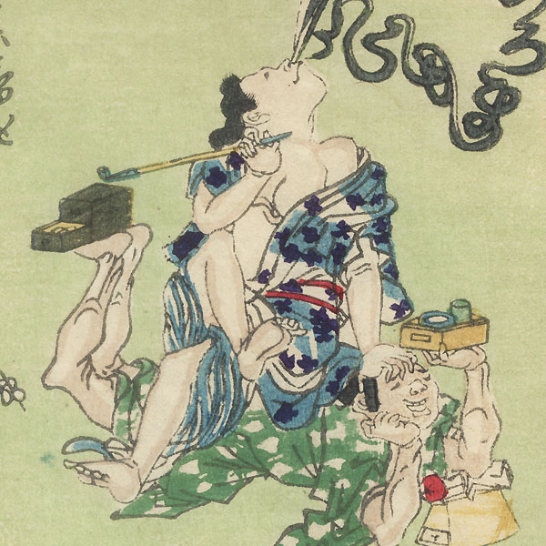 Sitting on Her Husband; Plastering Mud on the Husband's Face by Kyosai (1831 - 1889)