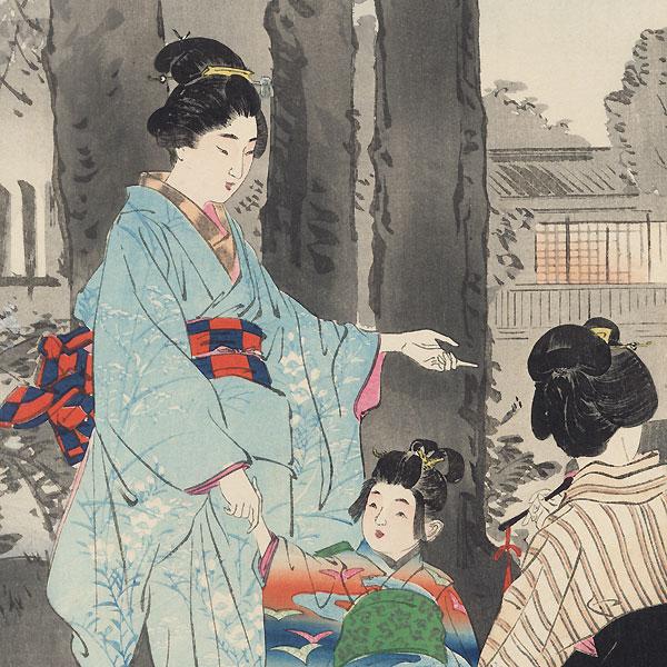 Bush Clover at the Ryuganji Temple in Kameido by Gekko (1859 - 1920)