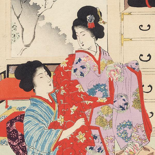 Dressing Her Daughter by Shuntei Miyagawa (1873 - 1914)