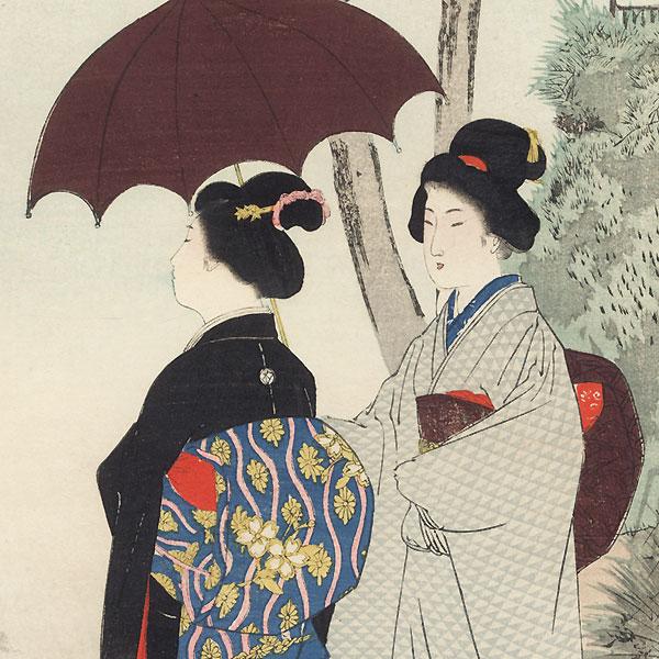 A Walk in Autumn by Shuntei Miyagawa (1873 - 1914)