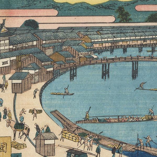 Kyobashi Bridge at Fushimi by Kunikazu (active circa 1849 - 1867)