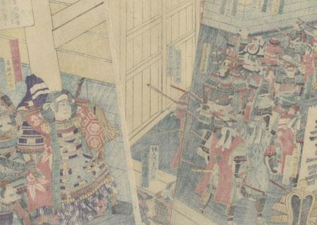 Chinzei Hachiro Tametomo and Retainers at a Palace Gate by Yoshimori (1830 - 1884)