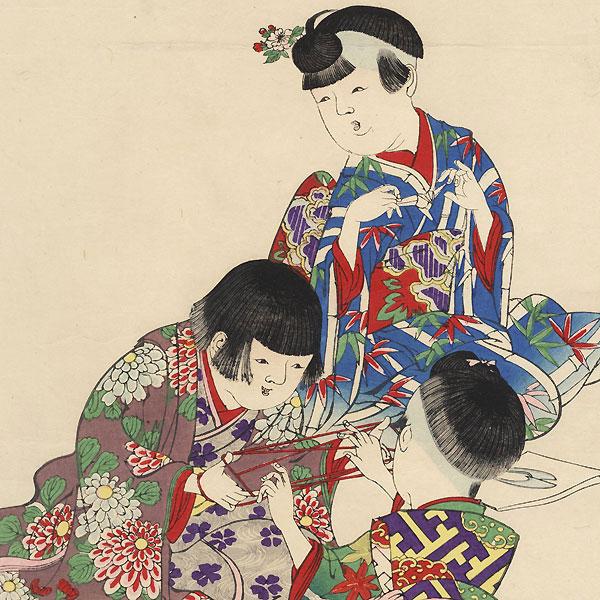 Education of Children, 1899 by Chikanobu (1838 - 1912)