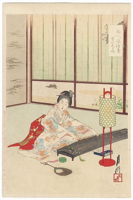 Playing the Koto by Gekko (1859 - 1920)