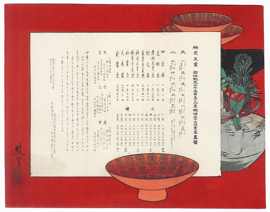 Calendar with Lacquer Cups and Kettle, 1899 by Ayoka Yushin (1846 - 1910)