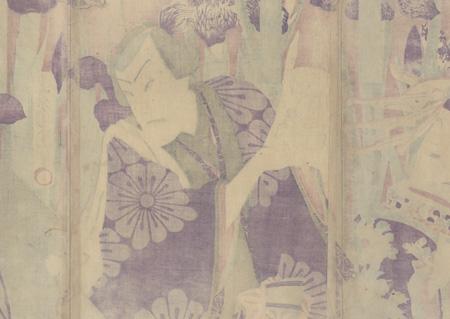 Trio in an Iris Garden by Kunichika (1835 - 1900)