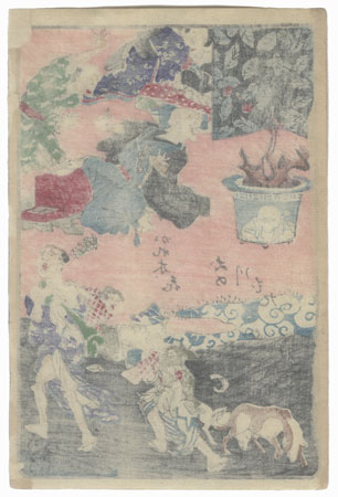 Flower on a Withered Tree; Strolling Like a Dog on the Riverbank by Kyosai (1831 - 1889)